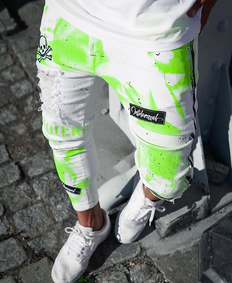 INTOLERAVEL GREEN NEON PATCHES JEANS