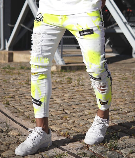 INTOLERAVEL YELLOW NEON PATCHES JEANS