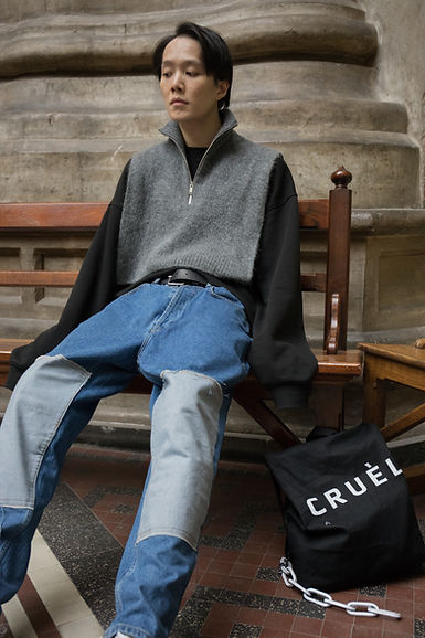 CRUÈL SS19 Serie Two Lookbook - Patch Light Jeans