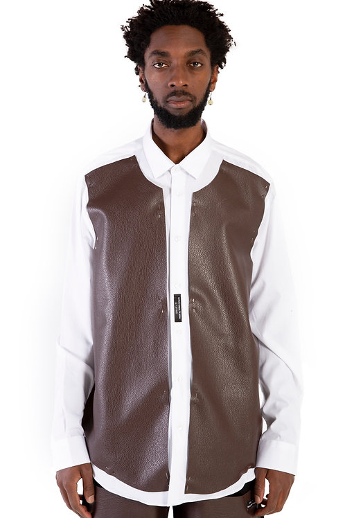 Aswan Leather Patch Shirt Mens