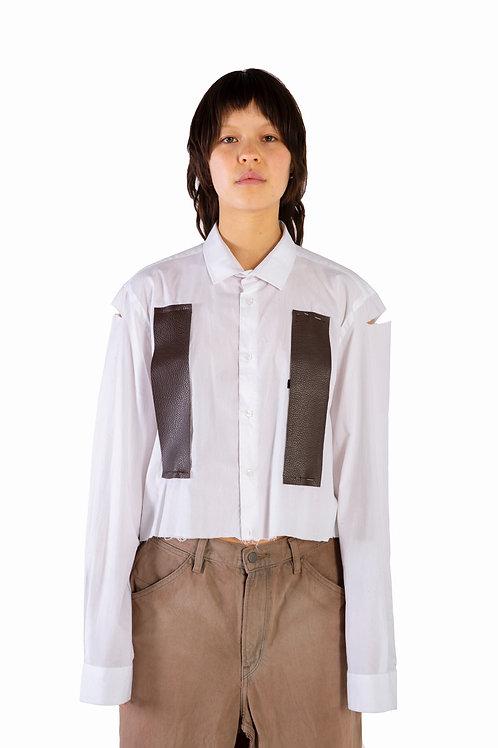 Shibin Leather Cropped Shirt Unisex