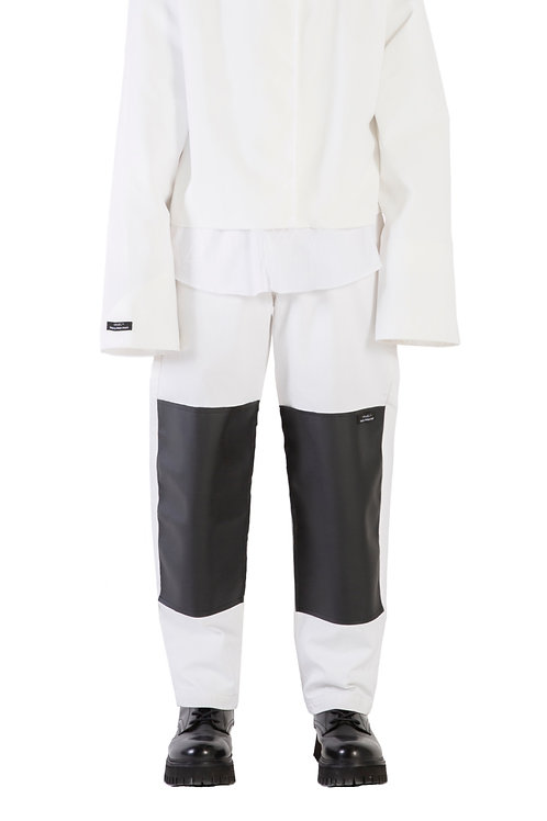 CRUÈL Leather Patch Jeans White Mens