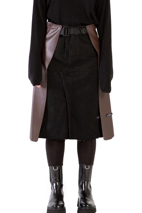 Caïro Leather Patch Skirt Womens