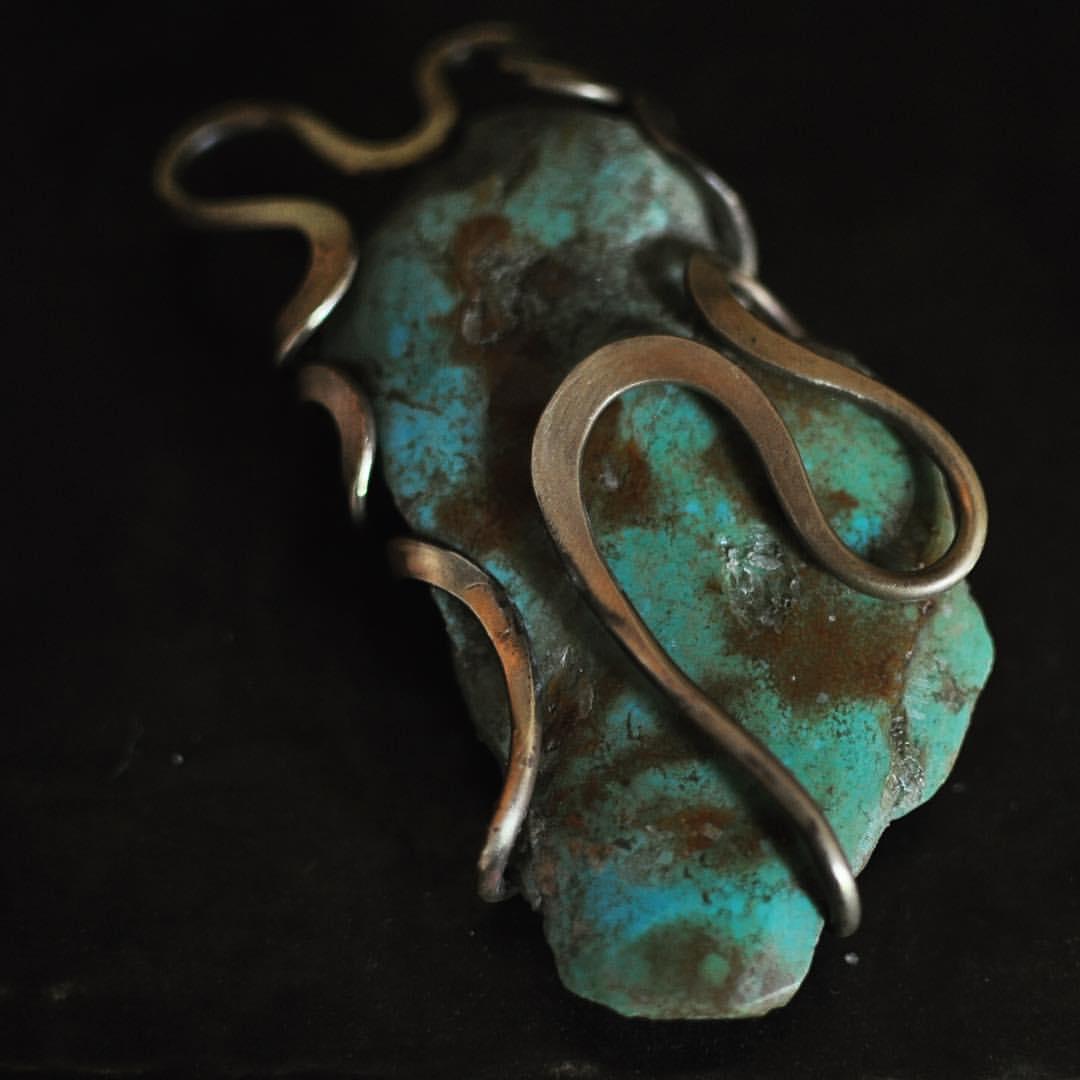 真鍮トルコ石ペンダントトップ