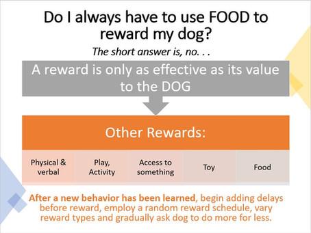 "Do i always have to use ""food"" to reward my dog?"