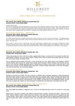 2013 HILLCREST VINEYARD REVIEWS