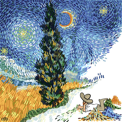 Hand on Grass looking Starry Night
