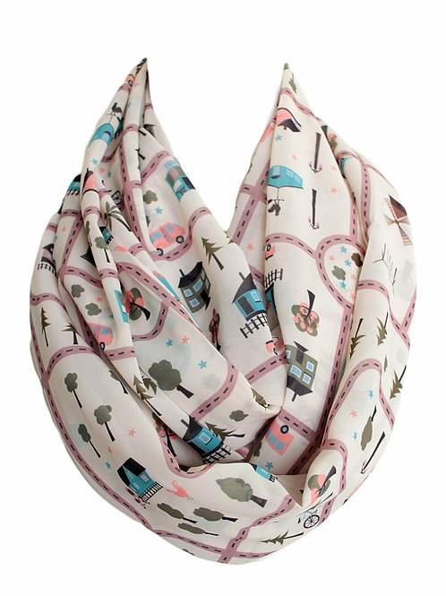 Beige City Map Infinity Scarf Gift For Her Circle Tube Scarf Accessories
