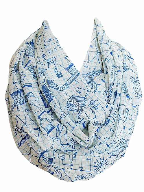 Blue Physics Infinity Scarf Teacher Gift For Her