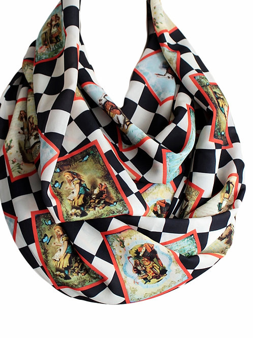 Alice in Wonderland Book Infinity Scarf Checked Fun Gift for Her