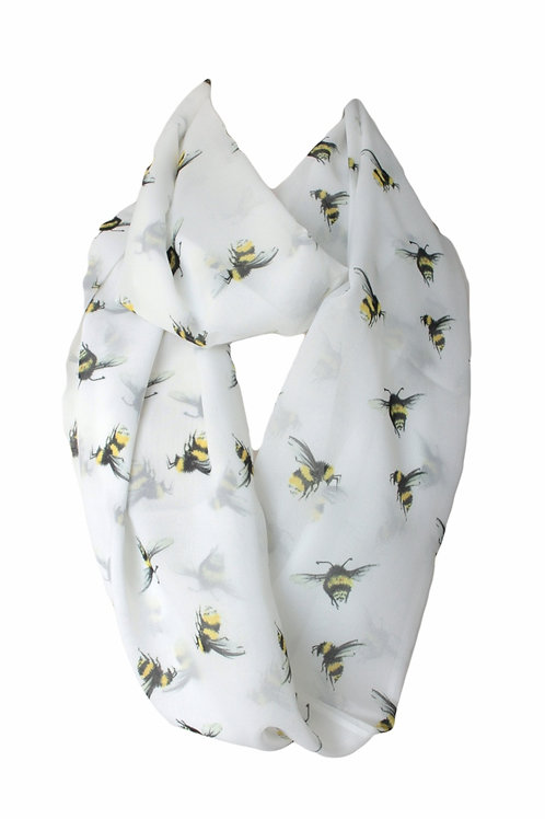 Bees Design Infinity Scarf Gift For Women Luck Charm Accessories