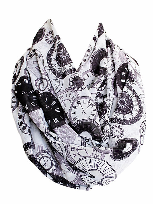 Vintage Clock Infinity Scarf Gift For Woman Accessories
