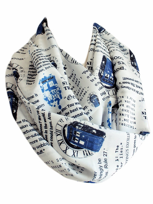 White Dr. Who Tardis Infinity Scarf Book Lover Gift for Her Woman Birthday