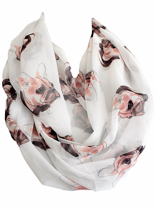 French Bulldog Watercolor Design Infinity Scarf Gift For Her Circle Tube Scarf