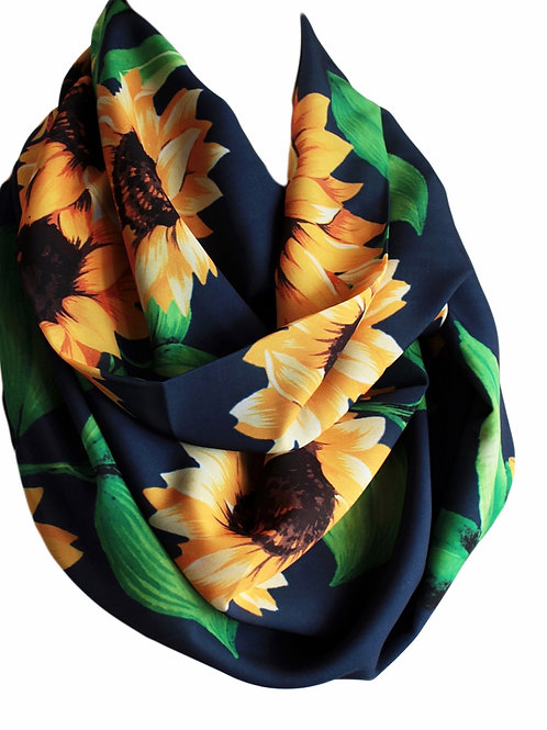 Navy Blue Sunflower Infinity Scarf Gift For Her Circle Tube Scarf Accessories