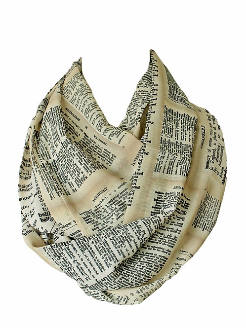 Dictionary Pages Infinity Scarf Gift For Her Book Geek Librarian Teacher