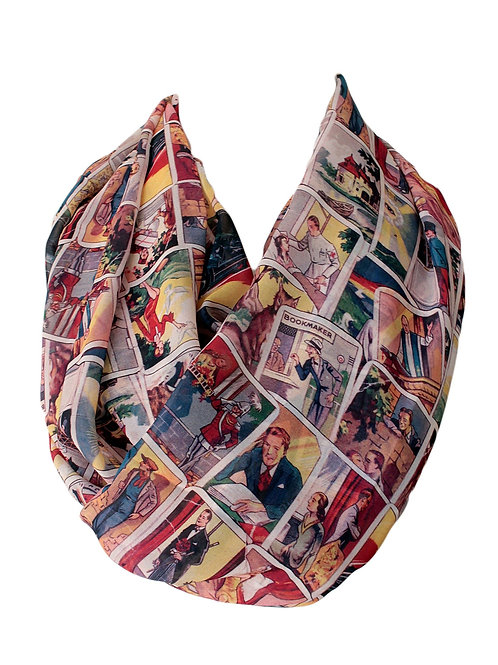 Retro Cards Infinity Scarf Gift For Her Girlfriend Christmas Birthday Gift