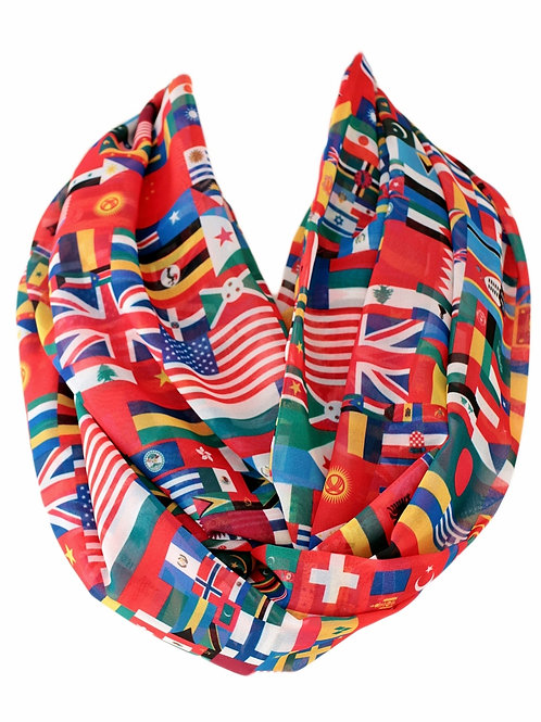 World Flags Infinity Scarf Gift For Her Circle Tube Scarf Accessories