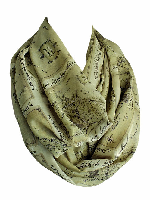 Green Lord of the Ring LOTR Map Infinity Scarf Book Lover Gift