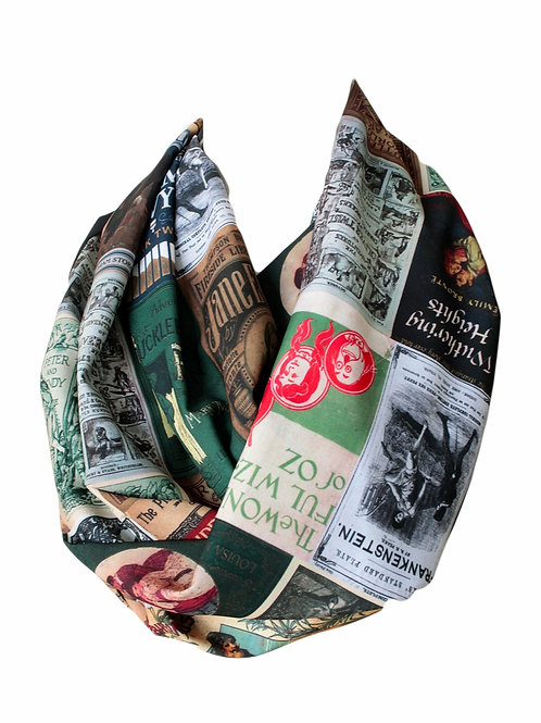 Literary Book Covers Infinity Scarf Gift For Her Librarian Teacher Booklovers