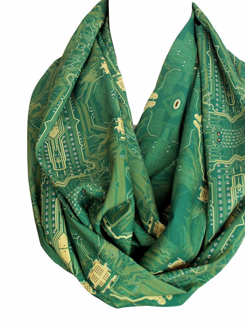 PC Circuit Board Infinity Scarf Print Circle Geek Scarf Christmas Gift