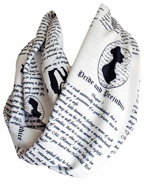 Jane Austen White Pride and Prejudice Infinity Scarf Book Librarian Teacher Gift