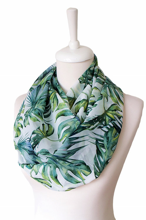 Tropical Palm Leaves Infinity Scarf Gift For Her Circle Tube Scarf Accessories