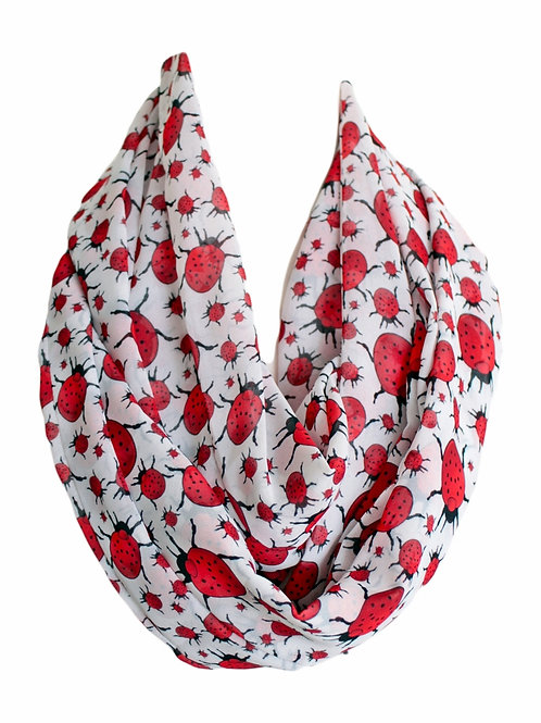 Ladybird Bug Design Infinity Scarf Gift For Women Luck Charm Accessories