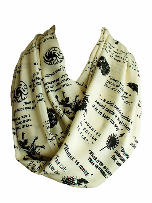 Yellow Game of Thrones Houses GOT Infinity Scarf Book Lover Gift for