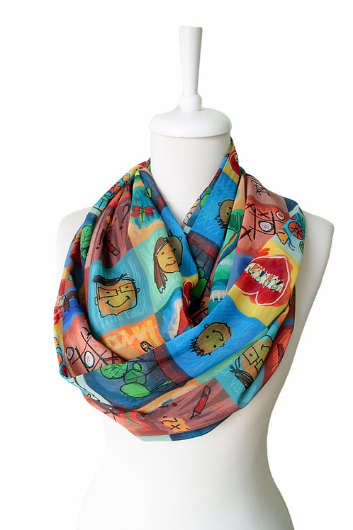 Kids Drawing Infinity Scarf Gift For Her Girlfriend Christmas Birthday