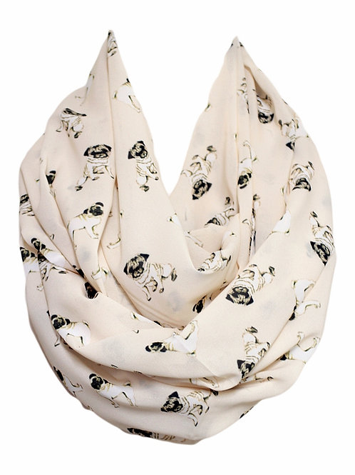 Pug Dog Infinity Scarf Gift For Her Circle Scarf Accessories