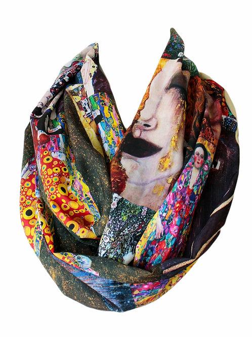 Gustav Klimt Paintings Infinity Scarf Gift For Her Circle Tube Scarf
