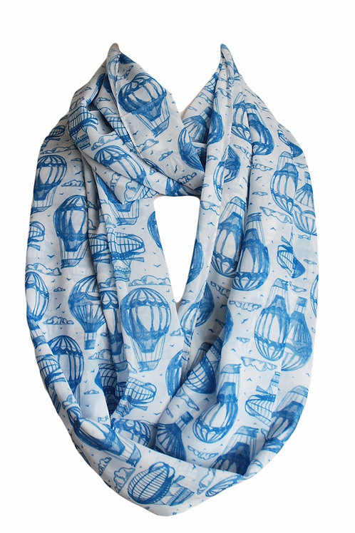Blue Air Balloons Infinity Scarf Gift For Woman Circle Tube Scarf