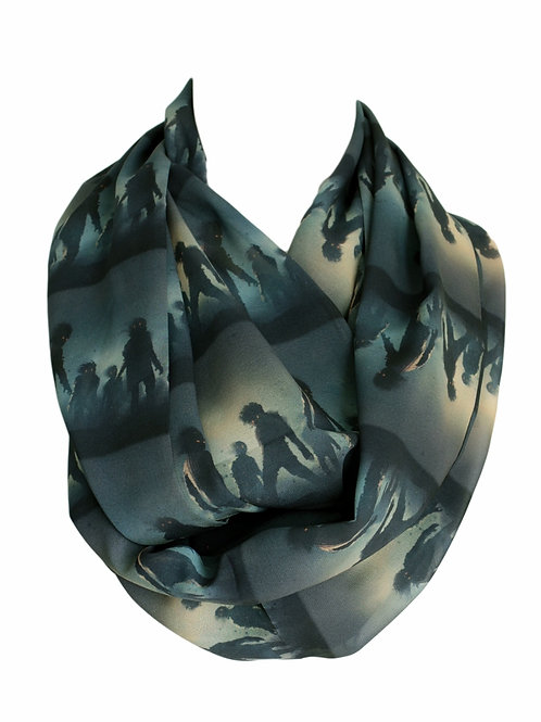 Undead Zombies Walking Dead Infinity Scarf Gift For Her Circle Tube Scarf