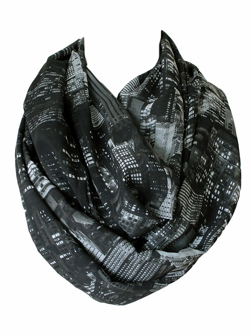 New York City Of Lights Infinity Scarf Gift For Her Circle Tube Scarf