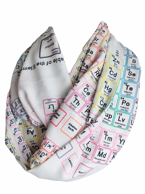 White Chemistry Periodic Table Infinity Scarf Teacher Gift For Her