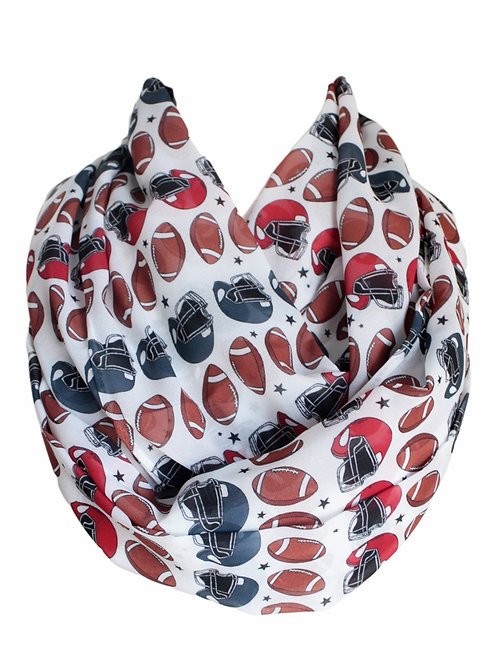 American Football Infinity Scarf Gift For Her Circle Tube  Rugby Touchdown Scarf