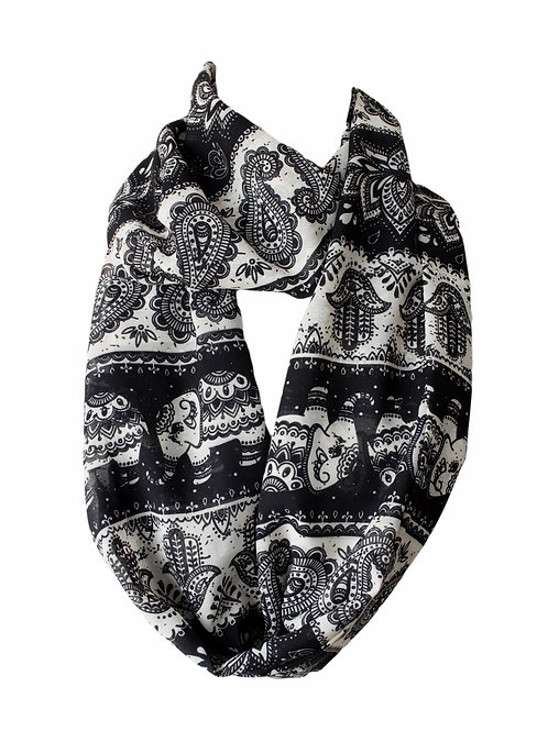 Tribal Elephant Hamsa Lotus Infinity Scarf Gift For Her Circle Tube Scarf