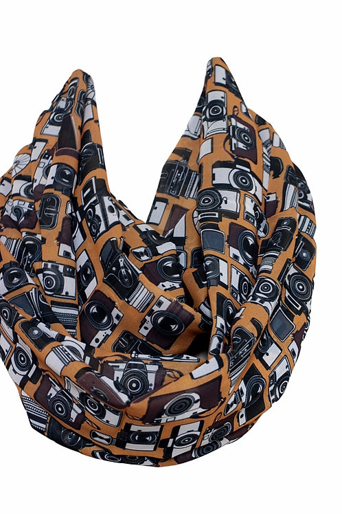 Vintage Camera Pattern Infinity Scarf Gift For Her Circle Tube Scarf Accessori