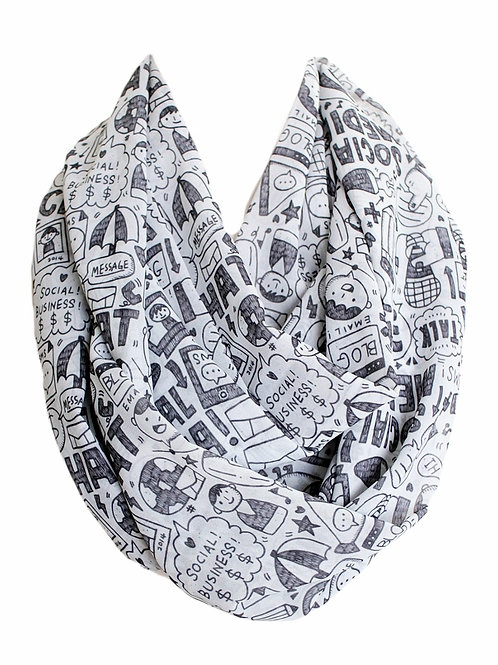 Social Media Chat Infinity Scarf Gift For Woman Circle Tube Scarf