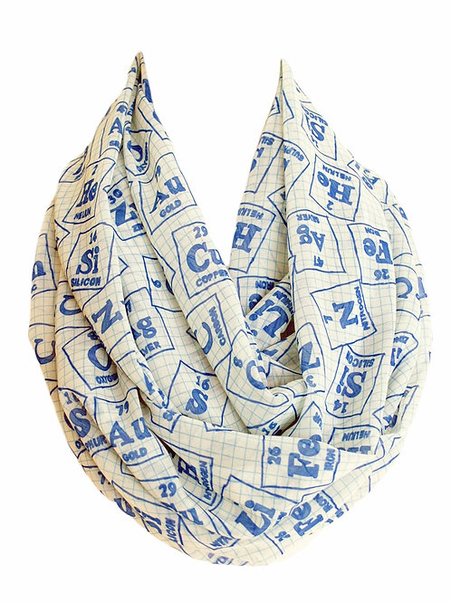 Blue Chemistry Elements Infinity Scarf Teacher Education Graduation Gift for Her