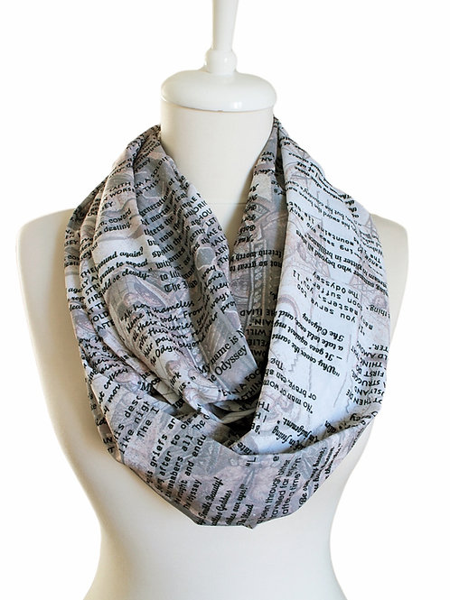 Homer Ilyada and Odyssey Book Infinity Scarf Gift For Her