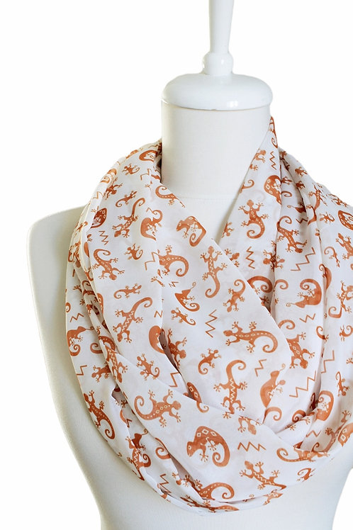 Gecko Lizard Infinity Scarf Circle Loop Tube Scarf Gift for her