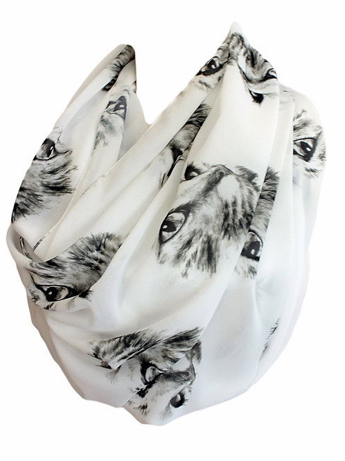 Cats Head Infinity Scarf Gift For Her Circle Tube Scarf Accessories Fashion