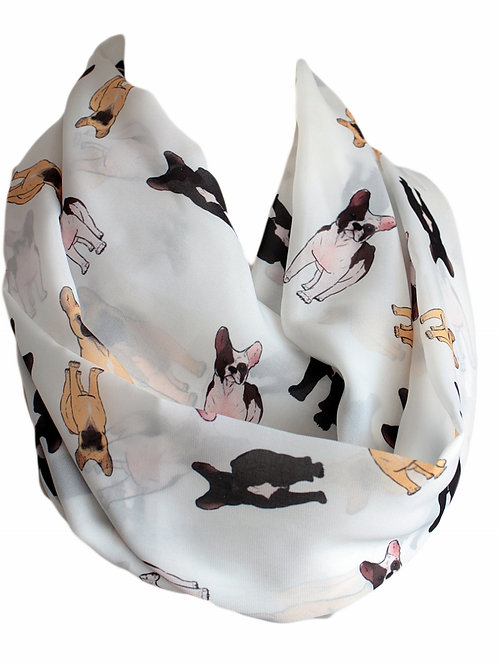 French Bulldog Design Infinity Scarf Gift For Woman Circle Tube Scarf