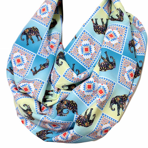 Blue Ethnic Elephant Infinity Scarf Circle Tube Loop Scarf Accessories