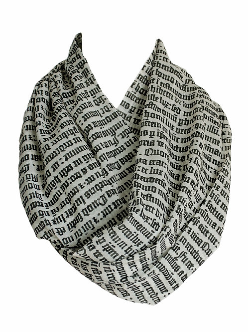 Gothic Letter Infinity Scarf Book Lover Gift