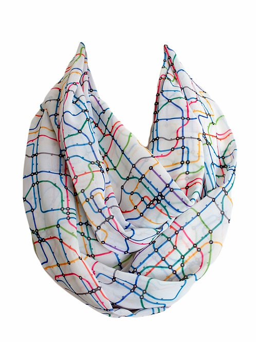 Tube Map Infinity Scarf Gift For Woman Undergorund Metro Accessories