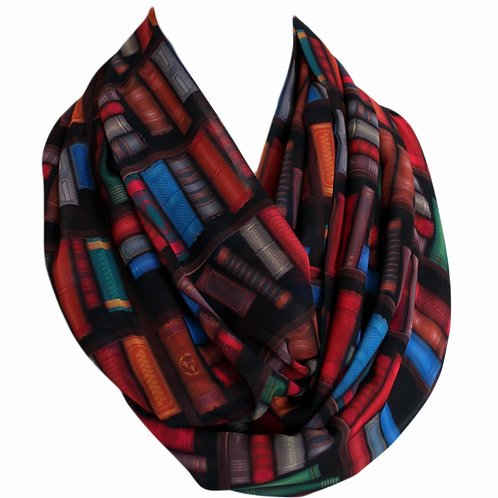 Colorful Bookshelf Infinity Scarf Gift For Her Book Geek Librarian Teacher Gift