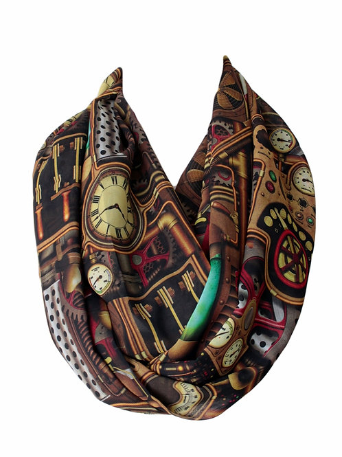 Steampunk Industrial Engine Infinity Scarf Gift For Her Circle Tube Scarf